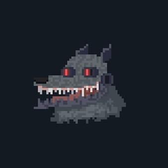 Ícone de avatar de lobisomem ciborgue de desenho animado em pixel art