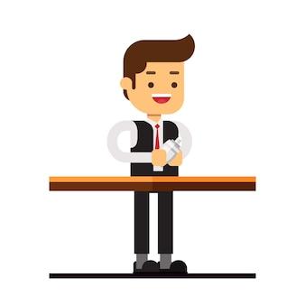 Ícone de avatar de personagem de homem. barman