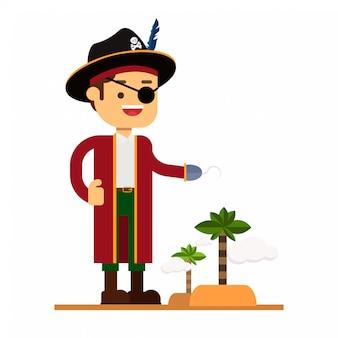 Ícone de avatar de personagem de homem. capitão pirata