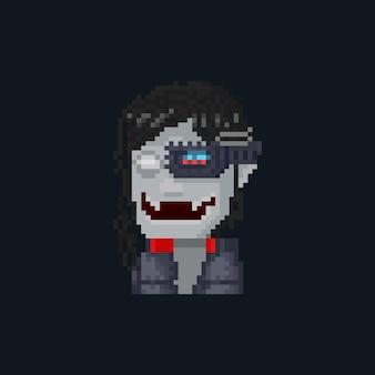 Ícone de avatar de vampiro futuro em desenho animado de pixel art