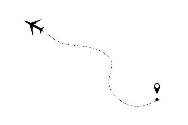 Ícone de avião e trilha em um fundo branco. ilustração vetorial