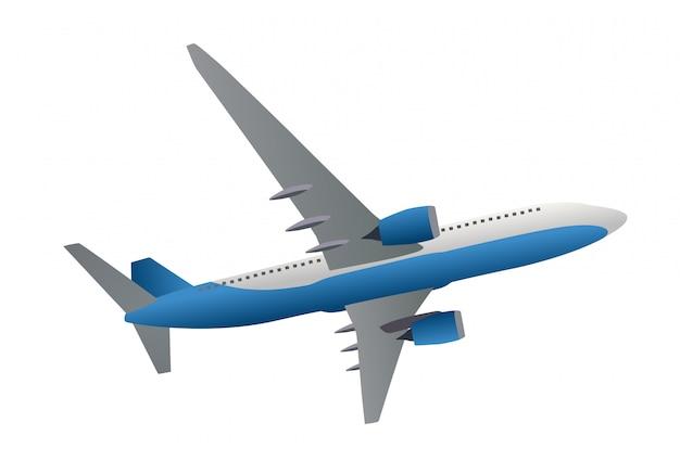 Ícone de avião. vista lateral de baixo. ilustração