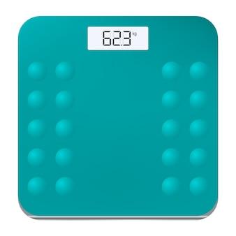 Ícone de balanças eletrônicas de piso para medir o peso humano. ilustração vetorial