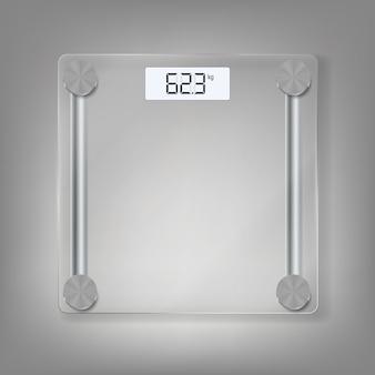 Ícone de balanças eletrônicas de piso para medir o peso humano. ilustração