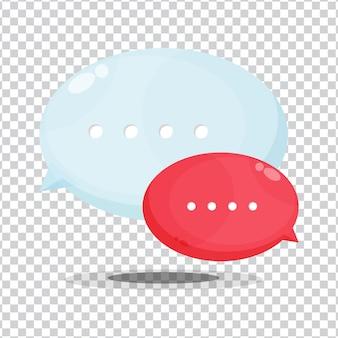 Ícone de balões de fala em fundo em branco