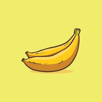 Ícone de banana isolado ilustração vetorial com cor simples de desenho de contorno