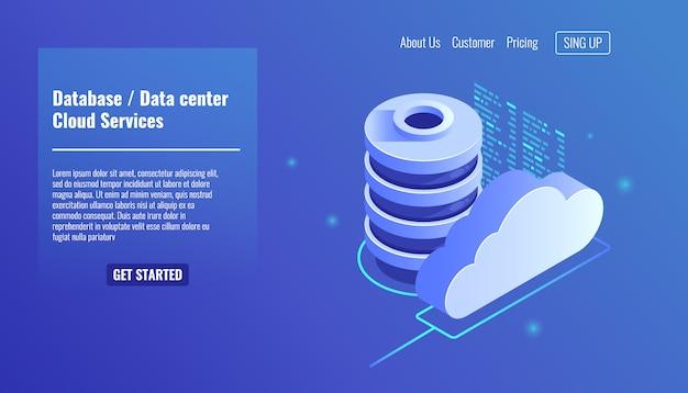 Ícone de banco de dados e datacenter, conceito de serviços de nuvem, backup e salvamento de arquivos