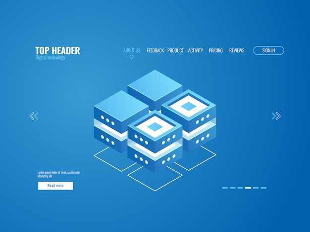 Ícone de banco de dados, processamento de dados e conceito de armazenamento em nuvem, resumo de tecnologia digital