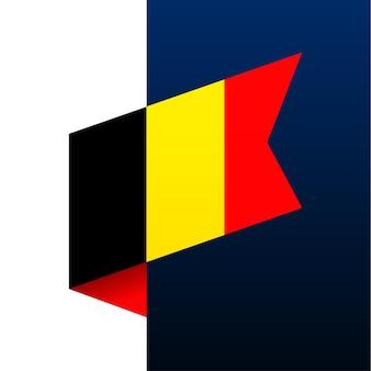 Ícone de bandeira de canto da bélgica. emblema nacional em estilo origami. ilustração em vetor de canto de corte de papel.