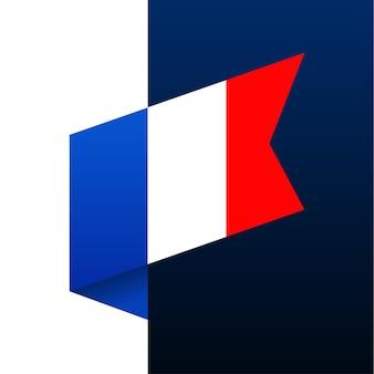 Ícone de bandeira de canto da frança. emblema nacional em estilo origami. ilustração em vetor de canto de corte de papel.