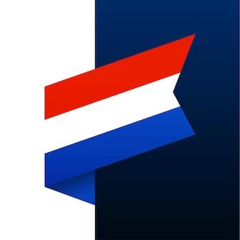 Ícone de bandeira de canto da holanda. emblema nacional em estilo origami. ilustração em vetor de canto de corte de papel.