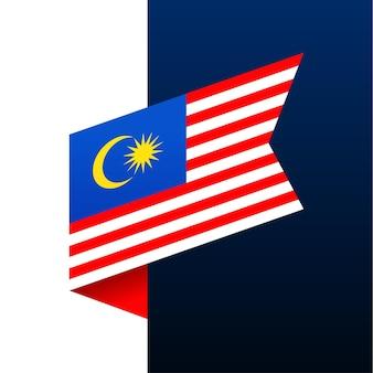 Ícone de bandeira de canto da malásia. emblema nacional em estilo origami. ilustração em vetor de canto de corte de papel.