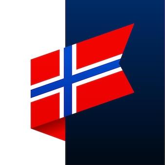 Ícone de bandeira de canto da noruega. emblema nacional em estilo origami. ilustração em vetor de canto de corte de papel.
