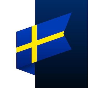 Ícone de bandeira de canto da suécia. emblema nacional em estilo origami. ilustração em vetor de canto de corte de papel.