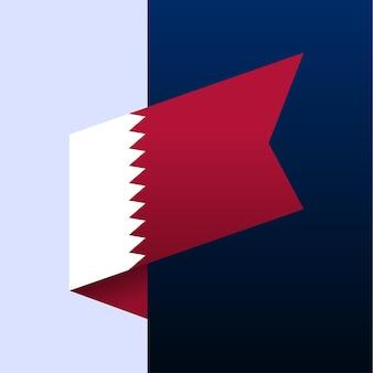 Ícone de bandeira de canto do qatar. emblema nacional em estilo origami. ilustração em vetor de canto de corte de papel.