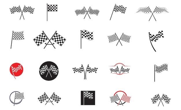Ícone de bandeira de corrida, vetor de ilustração de design simples
