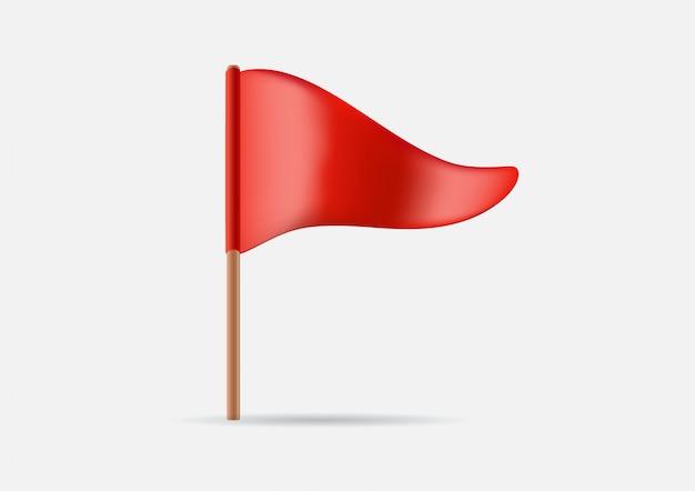 Ícone de bandeira de ondulação triangular vermelho.