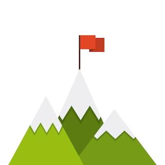 Ícone de bandeira de sucesso de montanha