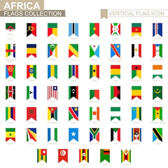 Ícone de bandeira vertical da áfrica. coleção de bandeiras de vetores de países africanos.