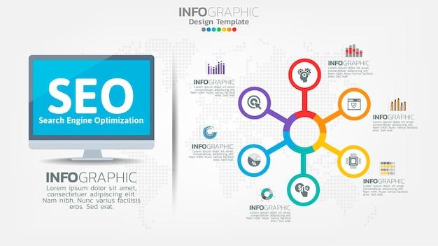 Ícone de banner de otimização de mecanismo de pesquisa de seo para negócios e marketing
