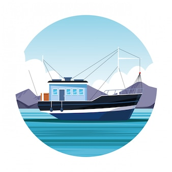 Ícone de barco de pesca
