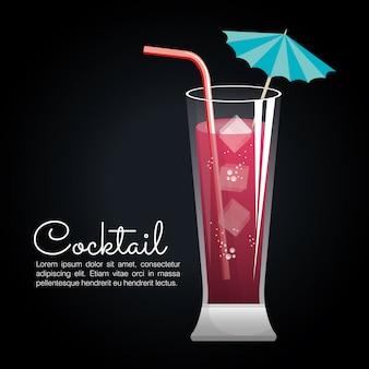 Ícone de barra de cartaz tropical cocktail