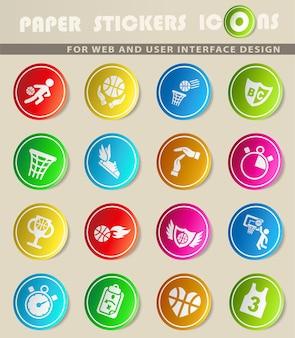 Ícone de basquete define ícones da web para design de interface de usuário