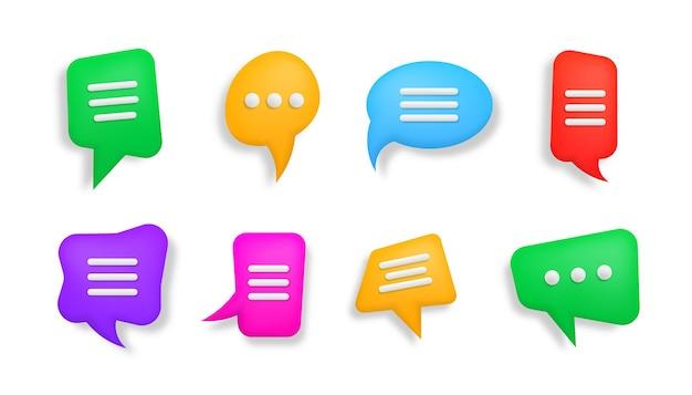 Ícone de bate-papo 3d digitando em um ícone de bate-papo bolhas coloridas de fala em 3d diálogo de conversa