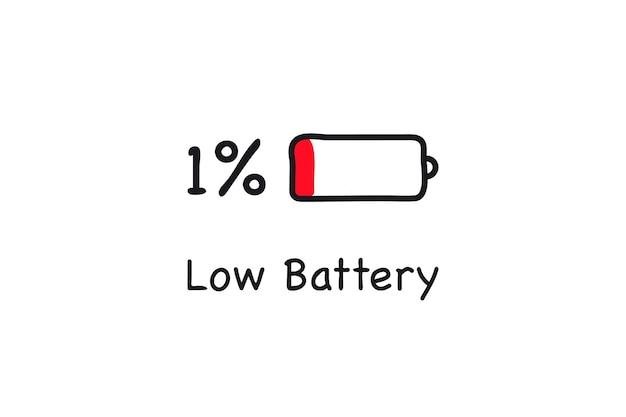 Ícone de bateria fraca. cobrando um por cento. bateria com pouca energia. ícone de carga da bateria. símbolo de eletricidade - sinal de energia. ilustração da bateria de alimentação.