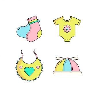 Ícone de bebê fofo colorido definido no estilo monoline