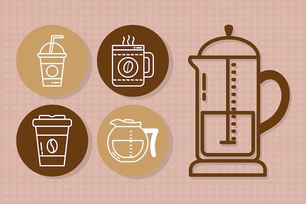 Ícone de bebidas de café em fundo rosa