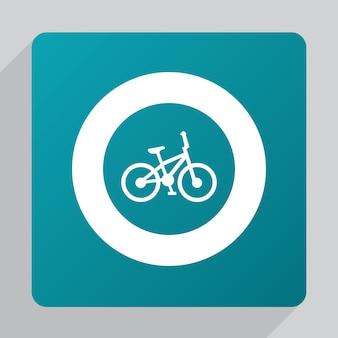 Ícone de bicicleta plana, branco sobre fundo verde