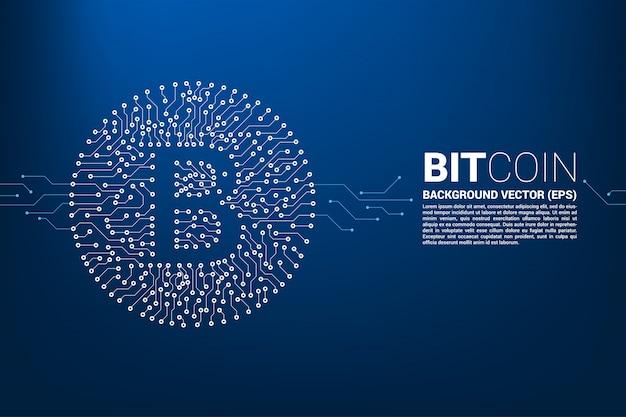Ícone de bitcoin do estilo de placa de circuito