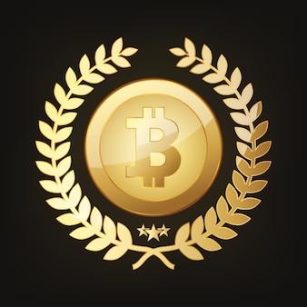 Ícone de bitcoin dourado. ilustração vetorial