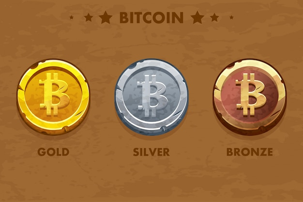 Ícone de bitcoin ouro, prata e bronze isolado. criptomoeda digital ou virtual. moeda e dinheiro eletrônico