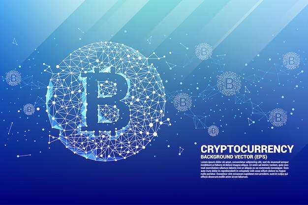 Ícone de bitcoin vetor da linha de conexão de ponto de polígono.