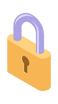 Ícone de bloqueio isométrico isolado ilustração vetorial, proteção e símbolo de segurança