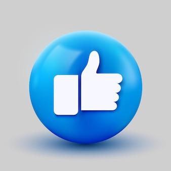 Ícone de bola 3d com polegar para cima