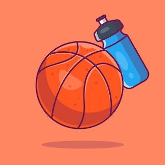 Ícone de bola de basquete. bola de basquete e garrafa de água, ícone do esporte isolado