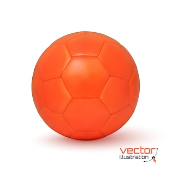 Ícone de bola de futebol laranja realista, isolado no fundo branco. ilustração.