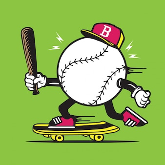 Ícone de bola e taco de beisebol design de personagens de skate de skate