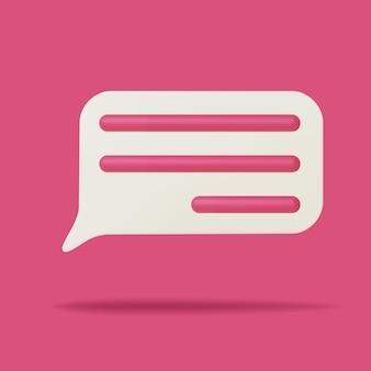 Ícone de bolha do discurso 3d. comunicação de rede social, símbolo de sinal de comentário, mensagem.