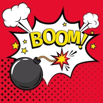 Ícone de bomba dos desenhos animados com texto
