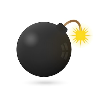 Ícone de bomba em um branco com fogo. ilustração vetorial