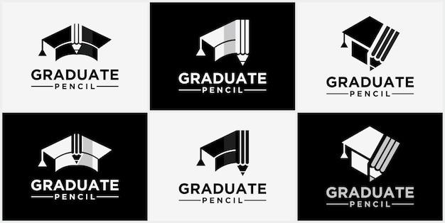 Ícone de boné de formatura do modelo de design de logotipo educacional com logotipo do setor de educação a lápis