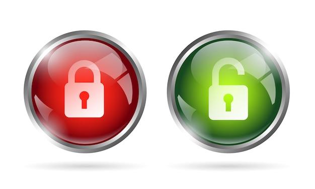 Ícone de botão bloqueado e desbloqueado