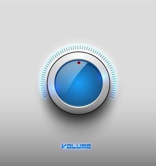 Ícone de botão brilhante de brilho azul de música de tecnologia, configurações de volume, botão de vetor de controle de som com anel de plástico branco, escala. isolado no fundo. para sites da internet, interface da web, aplicativos.