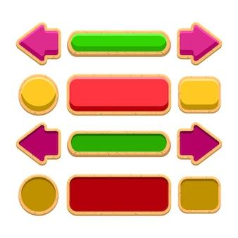 Ícone de botão de interface do usuário do jogo de madeira colorido para elementos de recursos de interface do usuário