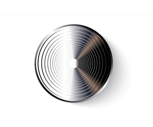 Ícone de botão de metal isolado no branco.