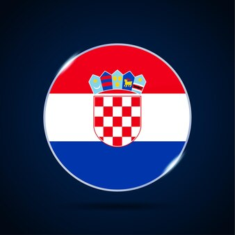 Ícone de botão do círculo de bandeira nacional da croácia. bandeira simples, cores oficiais e proporção correta. ilustração em vetor plana.